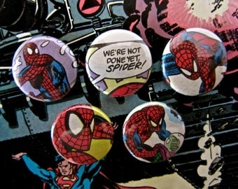 Spiderman- Upcycled 1990's Vintage Comic Book Button Badge Set.