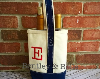 Monogram Wine Tote - Personalized Wine Holder - Monogram Wine Carrier- Hostess Gift