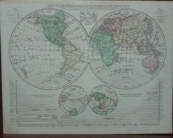 World, Map, Original Antique Handcoulored Map 1830