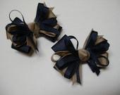 Little 3 inch Petite Piggy Tail Navy Blue Khaki You Pick color School Uniform TWO Pig Tail Hair Bows