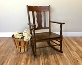 Antique Rocker - Mission Style - Wood Rocking Chair - Vintage Rocking Chair - Baby Nursery Furniture - Mission Furniture