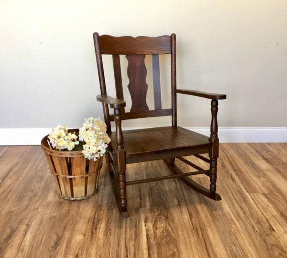 antique rocker mission style wood rocking chair vintage. Black Bedroom Furniture Sets. Home Design Ideas