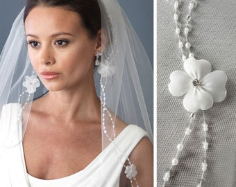 Floral Wedding Veil, Bridal Veil with Flowers, Pearl Veil, Beaded Veil, Veil with Beading, Ivory Veil, Fingertip Length Veil, Veils ~VB-5058