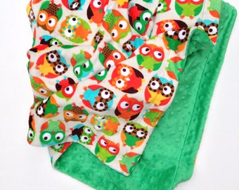 Owl Blanket, Minky Baby Blanket, Minky Kids Blanket, Green Minky Blanket, Stroller Blanket, Minky Girl Blanket, Infant Size 29 x 36 inch