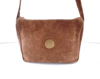 Vintage 70s Suede Crossbody Bag, 1970s Brown Suede Shoulder Bag, Chocolate Brown Suede Purse