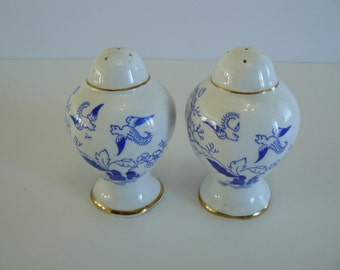 Royal Albert Mikado Salt and Pepper Shakers, Blue Birds, Table Decor, Blue And White Salt And Pepper