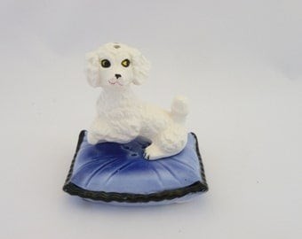 Vintage Salt, Pepper  Poodle On A Pillow , Collectible Salt and Pepper