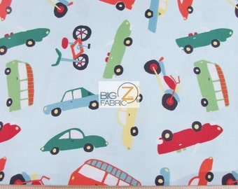 100% Cotton Fabric By Riley Blake - Wheels 2 Transportation Blue - Sold By The Yard (FH-2639) Decor Clothing Baby Theme Cars