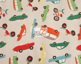 100% Cotton Fabric By Riley Blake - Wheels 2 Transportation Tan - Sold By The Yard (FH-2640) Decor Clothing Baby Theme Cars