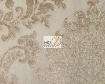 Damask Medallion Velvet Burnout Drapery Fabric - TAUPE - Sold By The Yard Curtains Decor Drapery Clothing Accessories