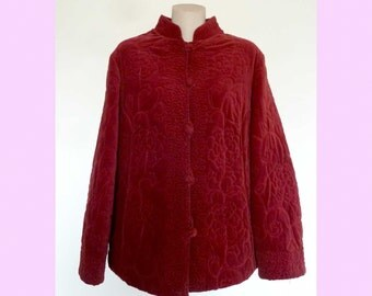 Vintage Chinese Peasant Red Velvet Quilted Jacket with toggles, 1970s