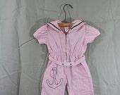Sale Sailor Jumper / Baby Girl Sailor Suit  / Infant Sailor Suit / Pink Sailor Suit / Girls Sailor Jumper / 1950's Sailor Suit 9/12M