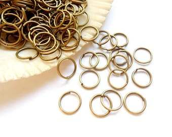 100 Antique Bronze Open Jump Rings 8mm -11-AB-8OL
