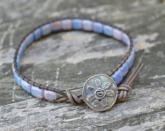 "Czech Glass ""Cotton Candy"" Beaded Leather Wrap Bracelet - Flower Button - Tile Beads"