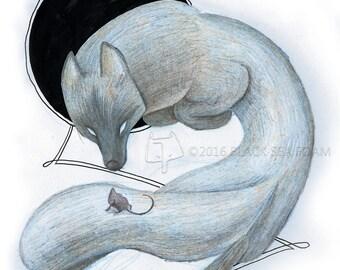 "Cold Encounters - colored pencil print - 8.5x11"""