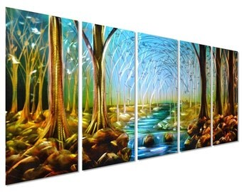 Modern Abstract Painting Metal Wall Art Sculpture Forest Stream
