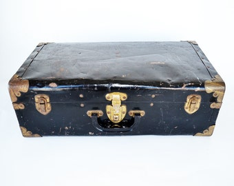 Vintage Black Metal Suitcase | Antique Luggage | Vintage Travel | Rustic Photography Prop | Brass Corners