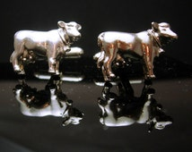 Sterling Cow Cufflinks silver animal gifrual Cuff links Vintage Western Cowboy Rancher southwest Skull Texas gift for boss