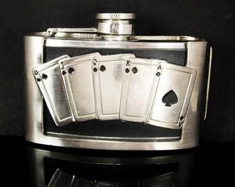 Gambling whiskey Flask BUCKLE Pocket size 3oz Black leather Hip Flask stainless groomsman groom novelty gift royal flush cards
