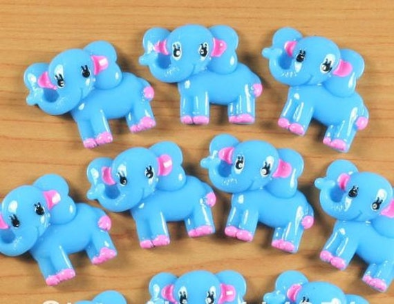 2 Pieces. Resin Flatback Cabochons 27mm Blue Elephants. Craft Supplies. DIY Supplies