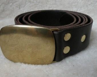 US Plain Plate Buckle - 35mm - Leather Belt