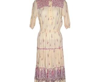 Vintage 80s Ragtime boho prairie country dress half sleeve beige pink floral