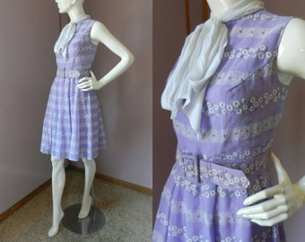 Vintage 1960's Fit and Flare Dress / Purple & White Floral Flocked Dress / Sleeveless Tea Length Belted Madmen Style Mod Dress