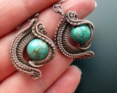 Wire wrapped turquoise earrings, unique silver wirework jewelry