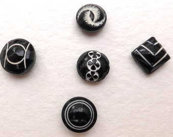 Black & white diminutive glass buttons, Art Deco, vintage.  5 different, black glass with white painted trim, 2 hole sew-thrus