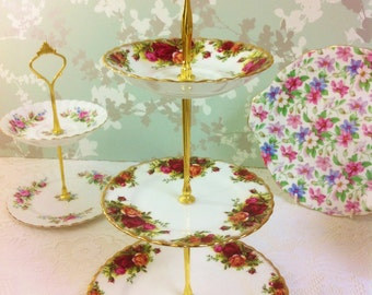 Old Country Roses, 3 Tier Cake / Cupcake Stand, Royal Albert