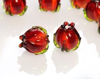 Lampwork bead 13mm autumn red orange flower bud sra