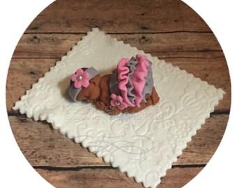 BABY SHOWER CAKE Topper fondant baby pink and grey vintage nursery vintage baby shower Tutu Cake Topper Fondant Cake Topper baby girl