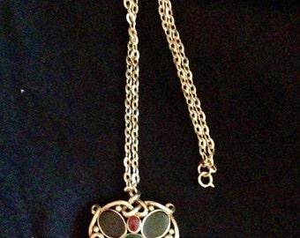 Vintage gold tone chain multicolor medallion necklace