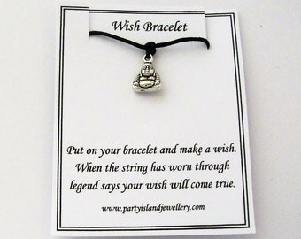 Black BUDDHA Friendship Wish Bracelet with Wish Message Card - Gift Spiritual