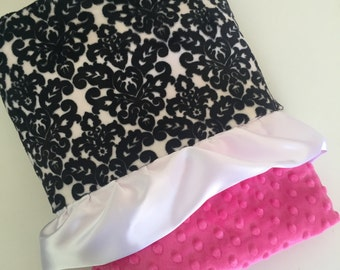NEW Minky baby blanket damask and pink
