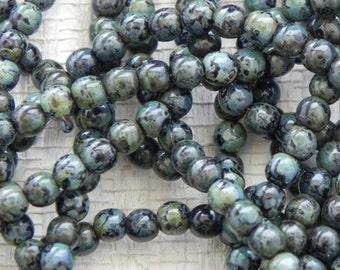 4mm Jet Picasso Round Beads -2558- Jet Picasso 4mm Druk Beads - Jet Picasso 4mm Smooth Round Beads - 100 Beads
