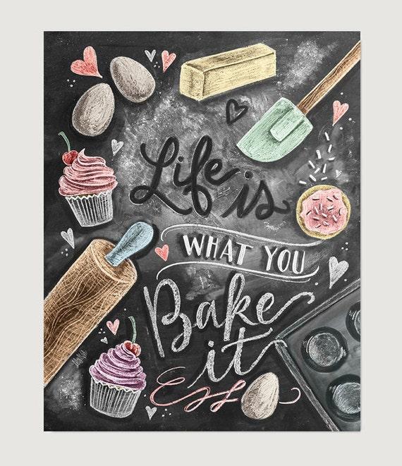 Lovely Kitchen Decor   Kitchen Chalkboard Art   Gift For The Baker   Baking Art   Kitchen  Art   Illustration Print   For The Bakery   Bakery Art