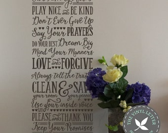 Our Family Rules Vinyl Wall Decal Sticker