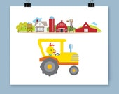 Kid's Farm Tractor In 'Happy Busy World' Nursery Playroom Bedroom Wall Decor Art Print For Baby And Young Child Great Fun Gift