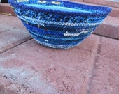 Scrappy blues  fabric wrapped clothesline cord bowl