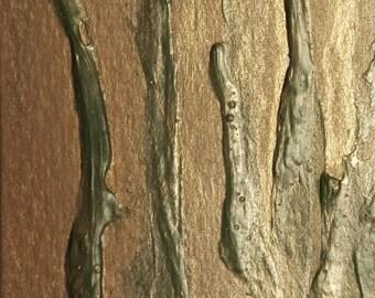 """ACEO Artist Card Original Modern Abstract Painting Bronze Metallic Texture """"Bronze Reeds"""""""