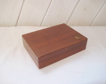 Wood box with initial  D, divided box, gift for letter D, hinged lid, keepsake box, oak box, rustic country decor