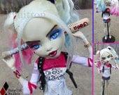 HUGE 17 Inch Harley Quinn Doll Suicide Squad Monster High Fan Made Pink Blue Hair Blonde Bat Crazy Guns