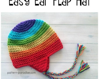 Crochet Pattern for Easy Earflap Hat Beanie, Rainbow, Child to Adult PDF 16-H