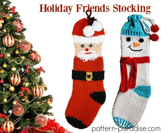 Crochet Pattern for Christmas Stocking, Holiday Friends Snowman Santa Claus PDF16-268