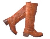 Vintage 70s Zodiac Leather Boots 1970s Distressed Cognac Brown Campus Tall Hippie Boho Chunky Boots / size 6-1/2