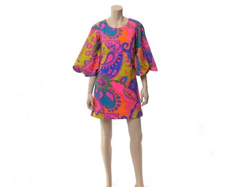 Vintage 70s Mod Neon Psychedelic Hawaiian Mini Dress 1970s Groovy Flower Power Paisley Bell Sleeve Carnaby Street Style Hippie Boho Dress