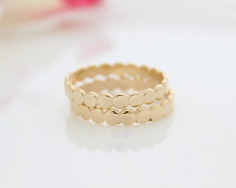 Dotted Gold Ring • Gold stacking ring
