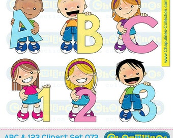 60% off ABC and 123 Clipart, kids clipart, school clipart, kids illustrations, numbers and letters clipart, school graphics set 073