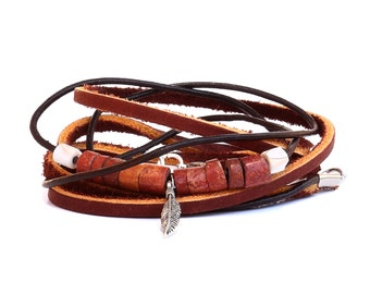 Unisex Brown Multi Wrap Leather Bracelet with Beads and Feather Charm, Boho Leather and cord bracelet